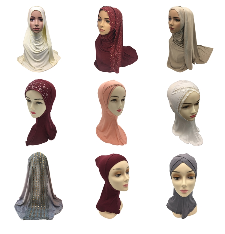 2019 New design online shop wholesale sports kids diamond hijab