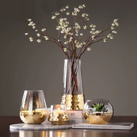 small glass flower vase gold wedding tall glass cylinder vase for home decor glass candle holder
