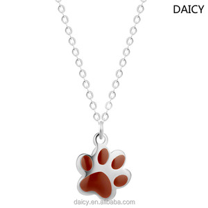 DAICY new arrival stainless steel paw print cute statement necklace 2017