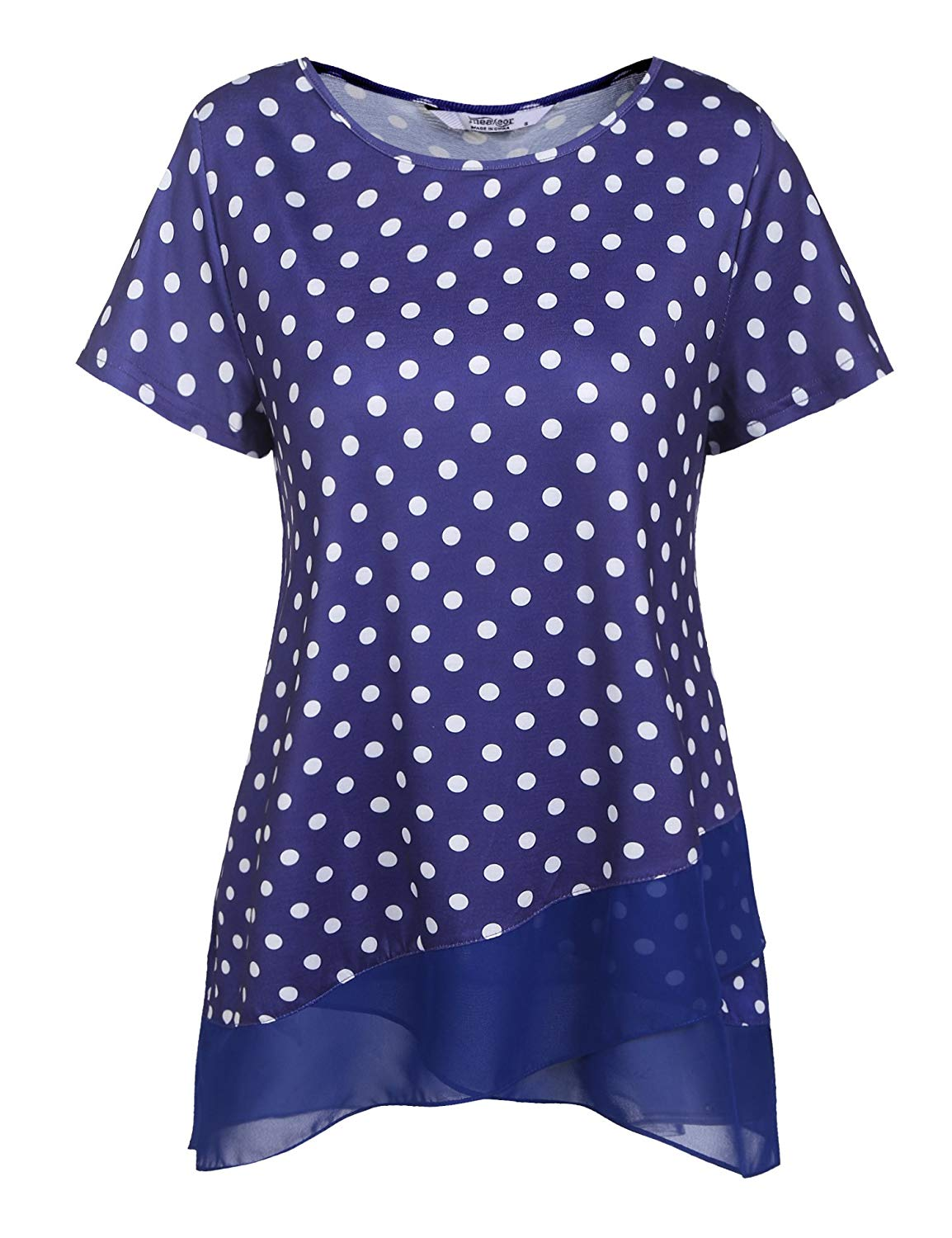 8b69b1be723e8 Get Quotations · Venena Womens Short Sleeve Polka Dots Dressy Tops Flowy  Patchwork A Line Casual Layered Tunic Tops