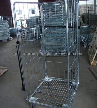 Warehouse Equipment Wire Mesh Struceture Roll Container Steel Trolley  Storage Metal Cart Pallet Cages Roll Cages - Buy Roll Cage,Pallet  Cage,Metal