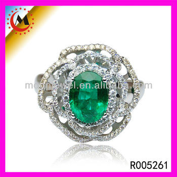 White Gold Rings With Emerald Green Stone Arabic Wedding Ring