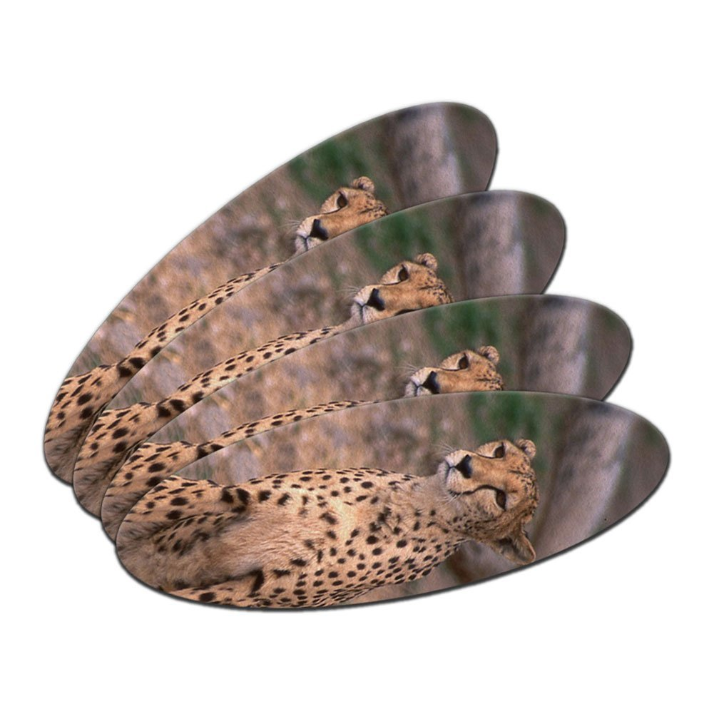 Cheetah - African Plains Cat Double-Sided Oval Nail File Emery Board Set 4 Pack