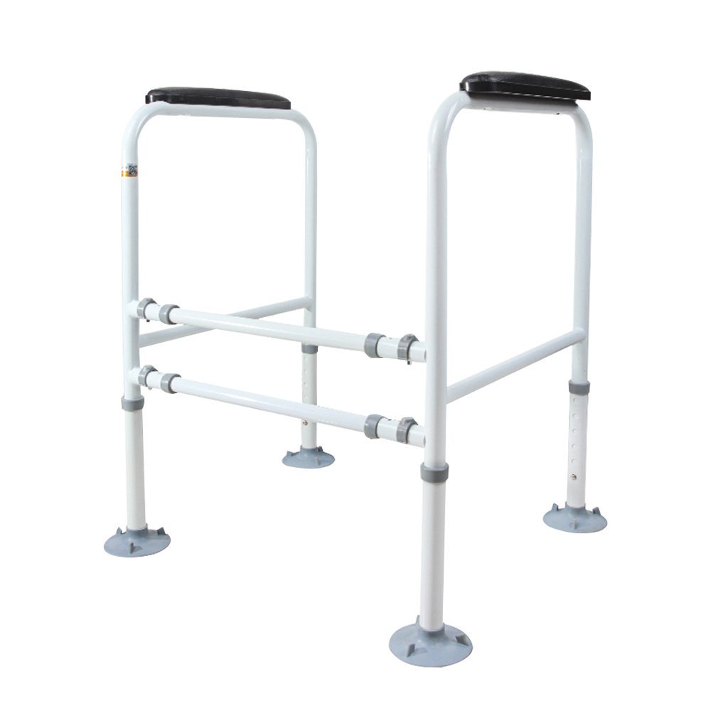 Stand Alone Toilet Rail Medical Bathroom Safety Assist Frame Grab Bars & Railings for Elderly, Senior, Handicap