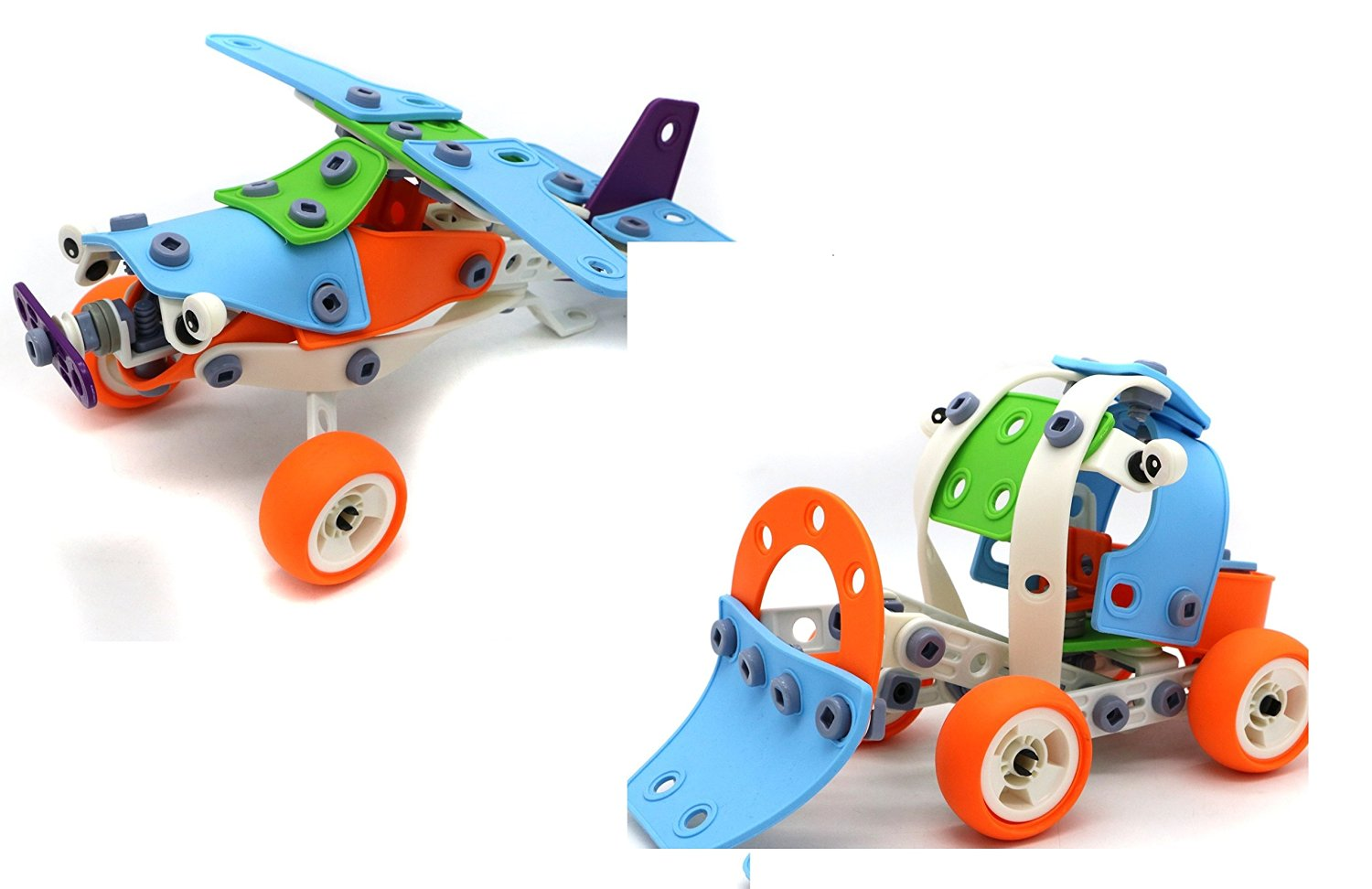 Verzabo Do It Yourself 132 Piece Build And Play Custom Design Set For Children Allows Them to Build Their Own Plane, Car or Custom Vehicle