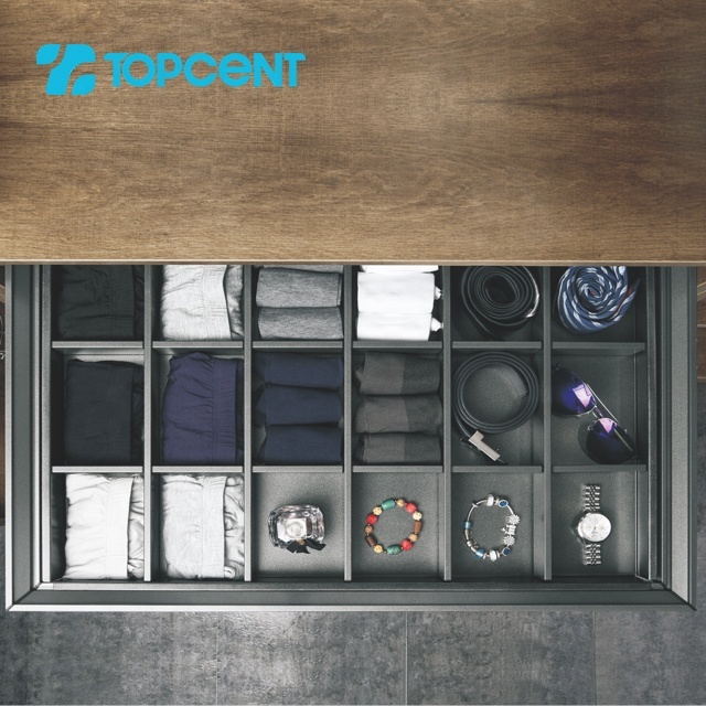 Topcent grey functional wardrobe fittings closet soft closing storage box for wardrobe