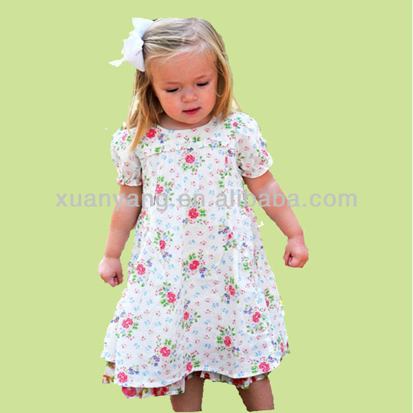 Small girls romantic snownwhite floral daily wear midi Dress