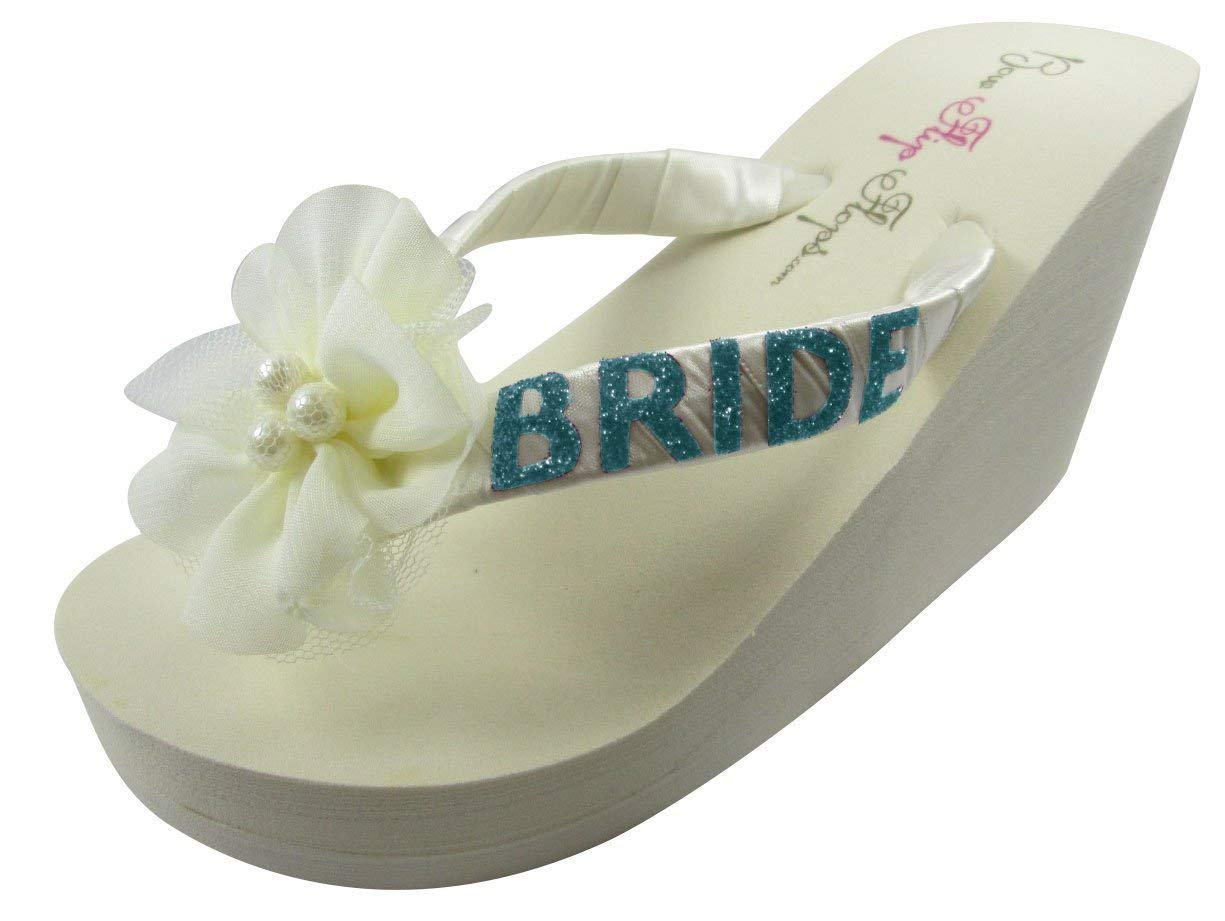 8a15f6679cb43 Get Quotations · Turquoise Pearl Flower Bride Flip Flops - choose your  custom colors