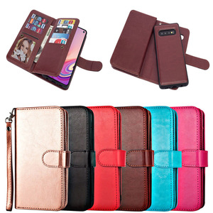 Top Quality 9 Card Slots Leather Wallet Phone Case for Samsung Galaxy S10 S10 Plus S10e with Detachable Back Cover
