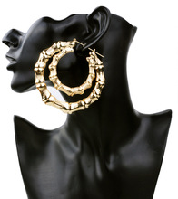 ZH1575A Fashion Exaggerated Big Gold Bamboo Hoop Earrings
