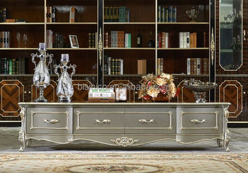 European Style Living Room Furniture TV Cabinet, Elegant Solid Wood With  Silver Leaf TV Stand Part 57