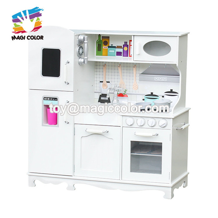 New Arrival Kids Large Wooden Play Kitchen Set In White W10c409