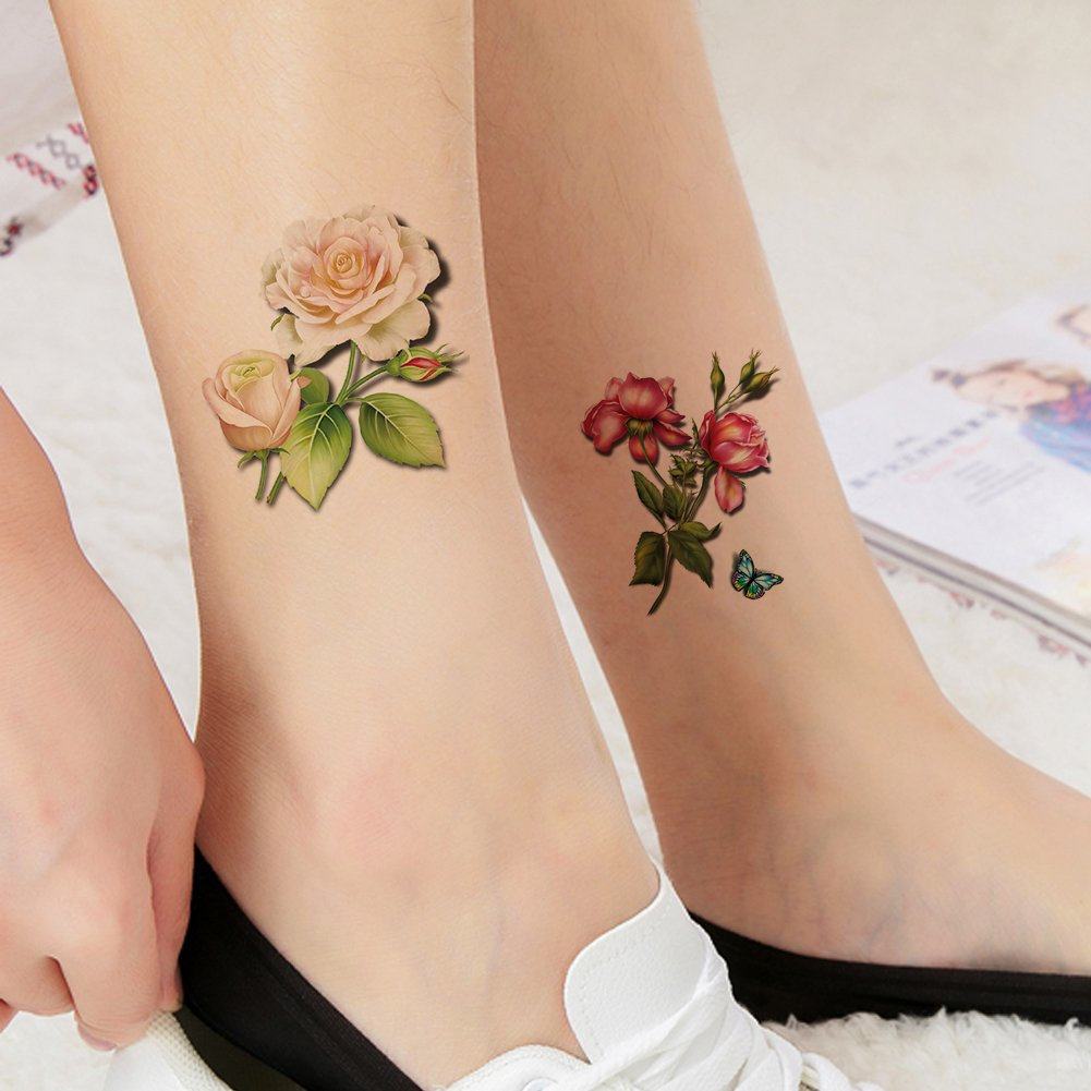 15505dfccfc0a Get Quotations · TAFLY White and Red Rose Flower Temporary Tattoo Stickers Fake  Tattoos for Women Body Arm Leg