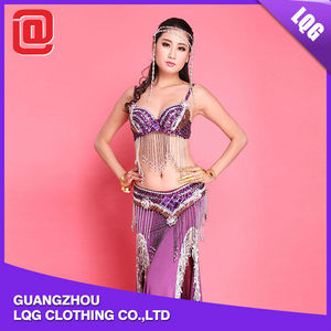 Sexy 2 pieces Bra Hip Scarf Belt skirt set beaded belly dance outfit