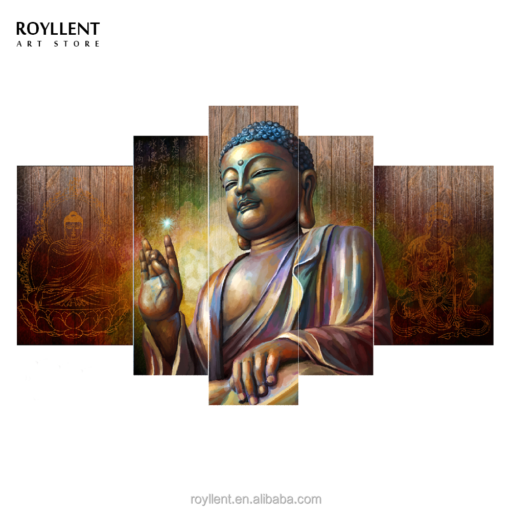 5PCS Group Framed Bronze Copper Buddha Canvas Paintings Frames Photo Printing Living Room Home Decor Wall <strong>Art</strong> Wholesale RA0203