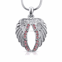 A800057 Huilin Jewelry Lovely Crystal Guardian Angel Wings Wing Necklace logo necklace