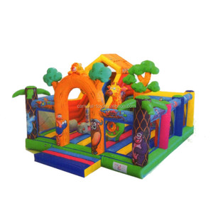 Party Rental Cartoons Themed World Inflatable Amusement Park Playground Bouncing Area for Kids