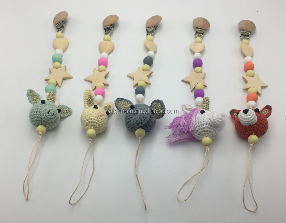 Diy Baby Crochet Unicorn Pendant Pacifier Clip Holder Silicone Beads