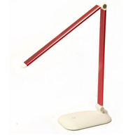 Red color portable rechargeable led table lamp foldable led desk lamp office and hotel reading lamp