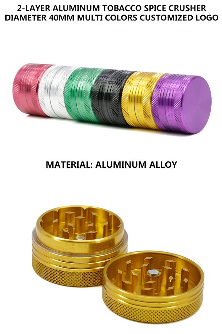 OEM LOGO 2 Parts 40mm CNC Aluminum Alloy Herb Grinder