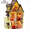 Diy Wooden Doll House With Furniture Light Model Building Kits 3D Miniature Dollhouse Puzzle Dolls Toy