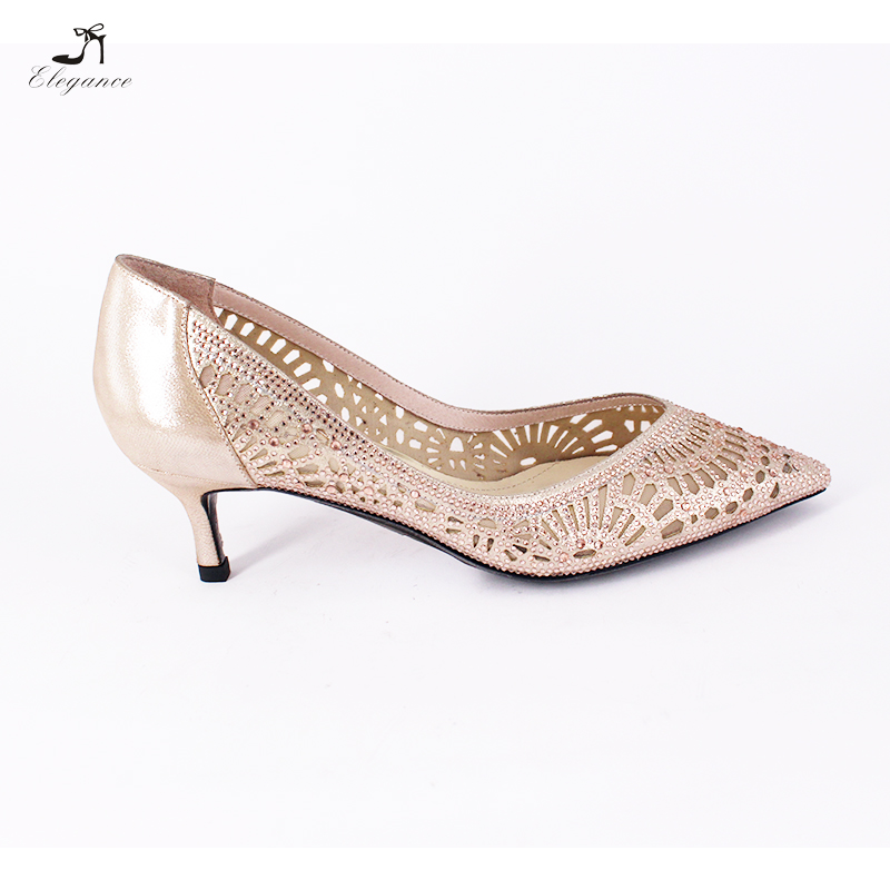 7c97bc364850 ... Rose Pointy Party Cutout Women Sparkle Rhinestone Dress Ladies Toe Shoe  Leather Bridal Shoes Gold Heel ...
