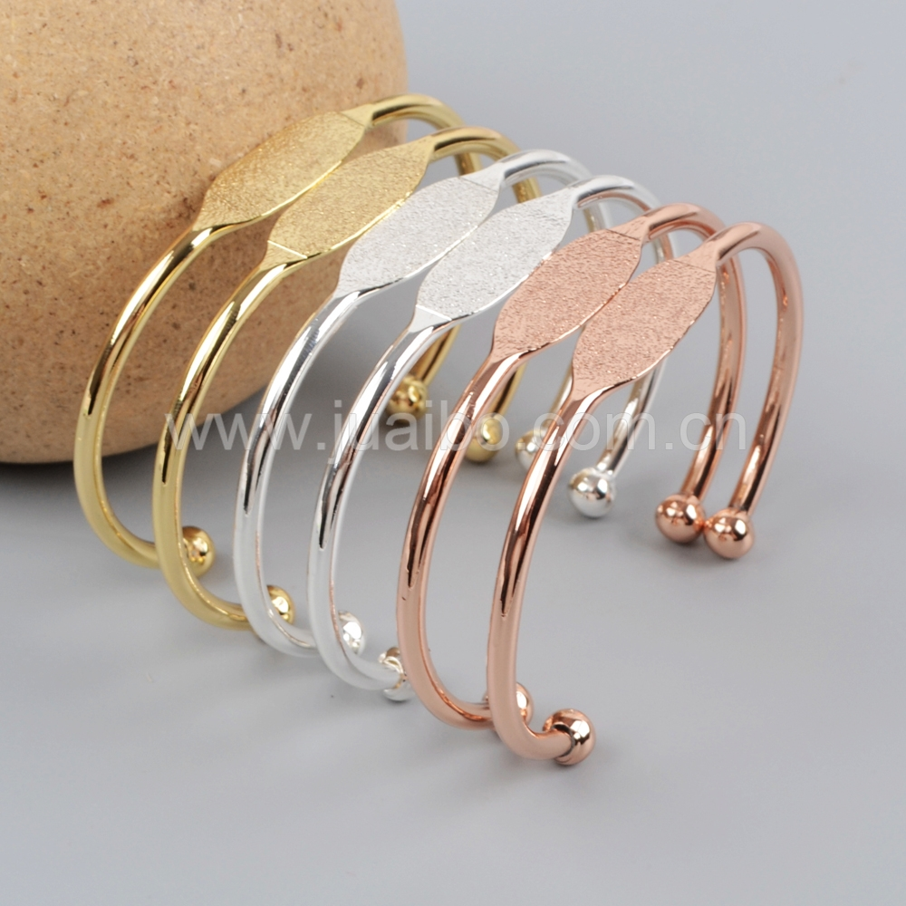 Jewelry findings gold, silver or rose gold plating metal bangle bracelt base PJ068