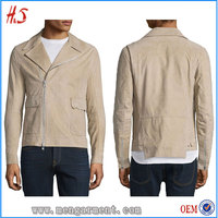 Man Premium Distressed Nubuck Leather Jacket With Side Flap Patch Pockets Notch Collar Leather Jackets For Men