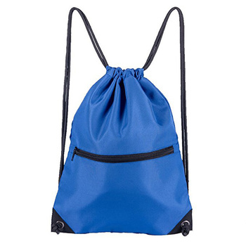 With Front Zipper Pocket Waterproof Nylon Drawstring Bag Product On
