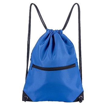 With Front Zipper Pocket Waterproof Nylon Drawstring Bag