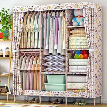 3 Rows Solid Wood Tube Wardrobe Sliding Door Design Portable Folding Cloth  Storage Wardrobe