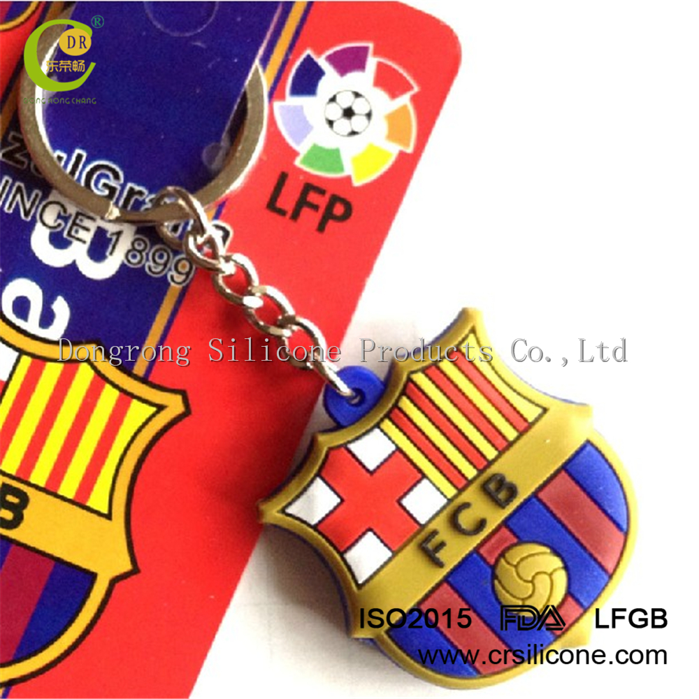 Promotion Gifts Fashion Custom Soft Silicone Barcelona Keychain for Wholesale