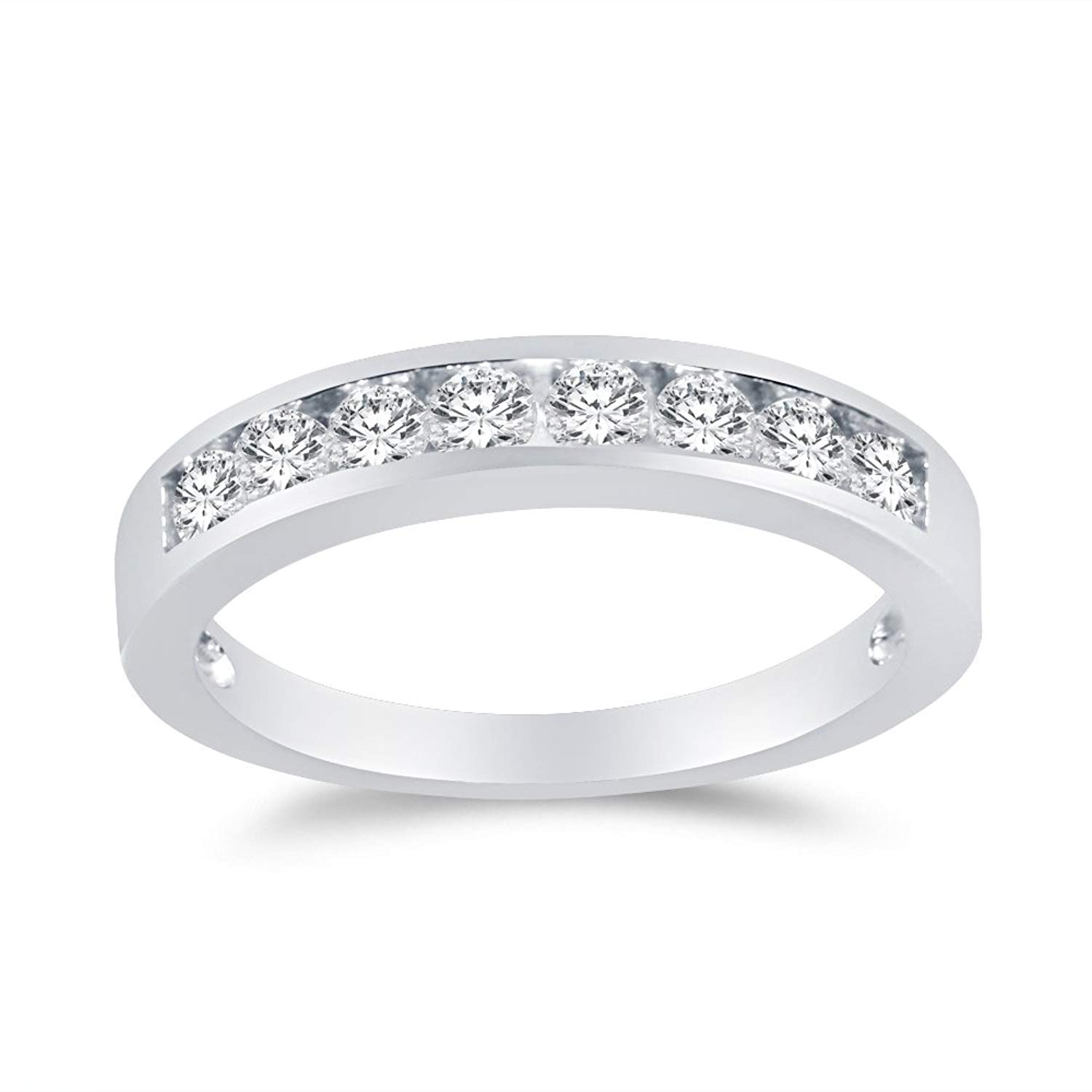 Jewel Tie 925 Sterling Silver 3.5mm Round Cut Wedding Ring Anniversary Band Cubic Zirconia CZ 1.0cttw.