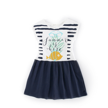 Sleeveless Print Girl Cotton Children Party Frock