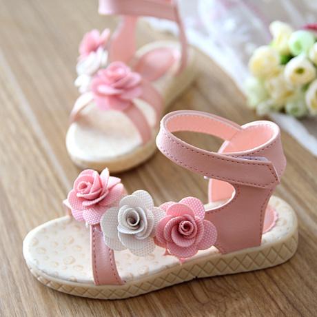 2015 summer female child sandals flower single child shoes princess bow cutout shoes girls shoes size