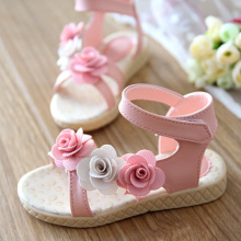2015 summer female child sandals flower single child shoes princess bow cutout shoes girls shoes size 26-30 pink red