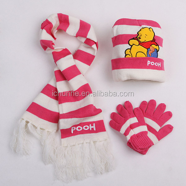 winter acrylic strip knitted kids scarf hat glove sets factory