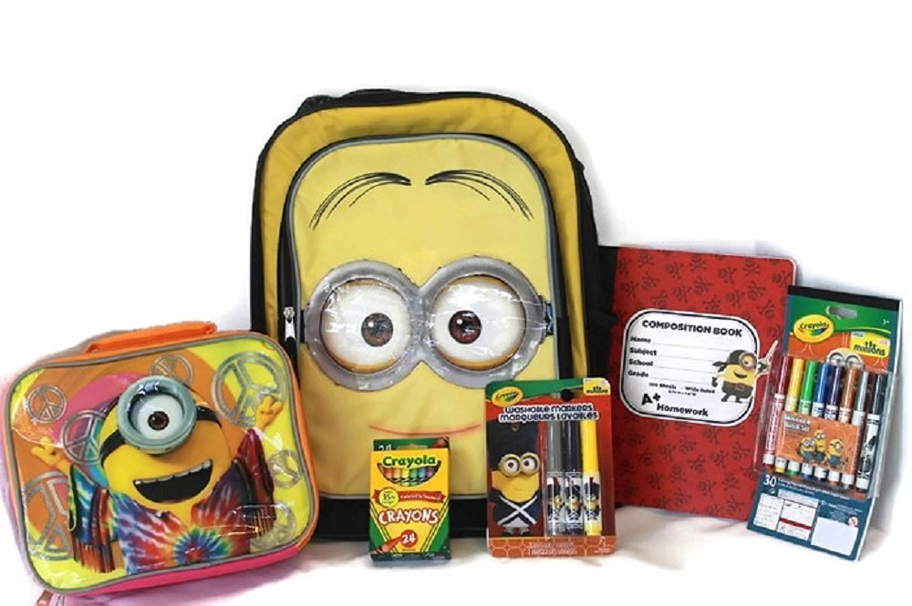 Minions Despicable Me Holiday Bundle with Backpack, Lunch Bag, Notebook, Washable Markers, Skecht Set, 24 Crayola Crayons (6 Piece)