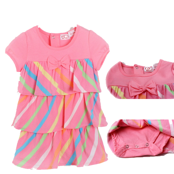 2015 Baby Dress Christening Pleated Baby Girls Dress Summer Romper Striped Newborn Girl Infant Clothing Set One-piece Shorts