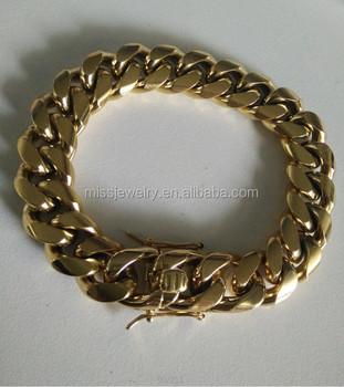 Saudi Gold Jewelry Bracelet Designs Men 18K Italian Gold Cuban Link