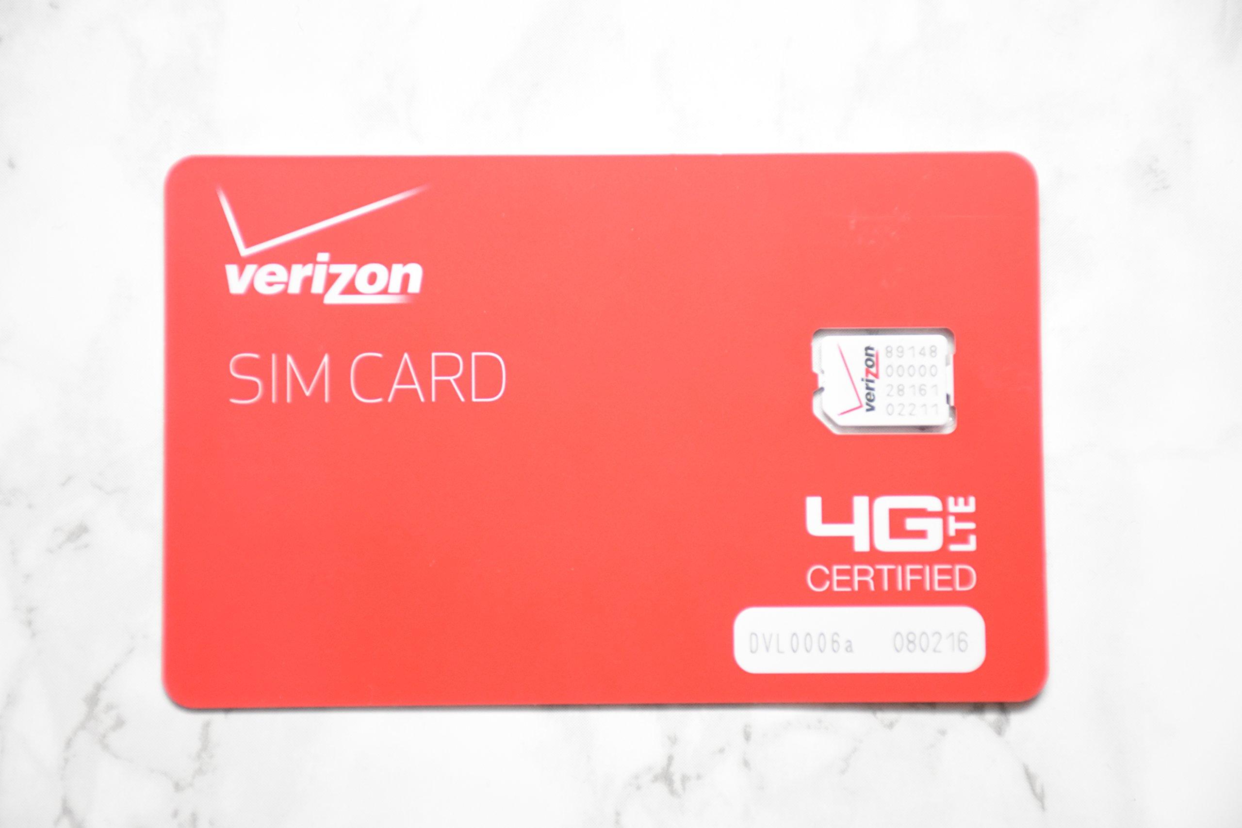 Verizon Wireless prepaid activation kit with $40 plan universal nano size SIM card.