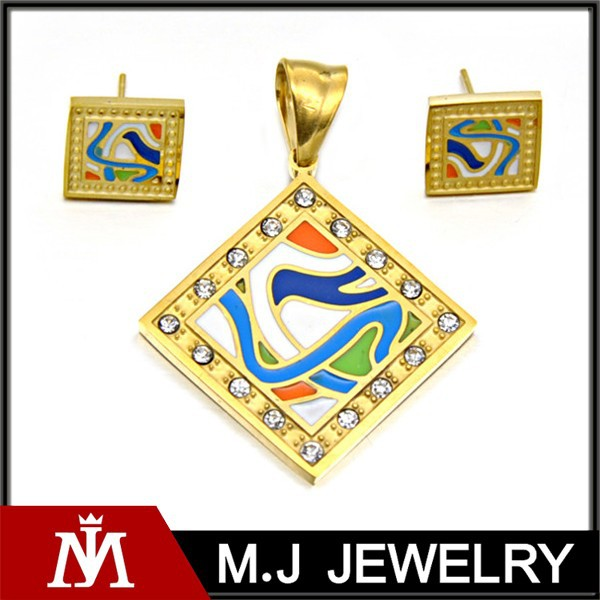 Women Wedding Enamel Jewelry Set With Crystal