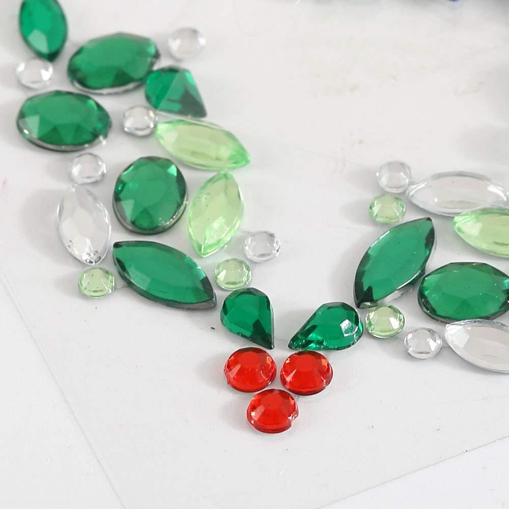 0dcfca2d82ce Get Quotations · CraftbuddyUS 1pc x 2in Stick on XMAS ARC Design Diamante  Self Adhesive Gem Rhinestones