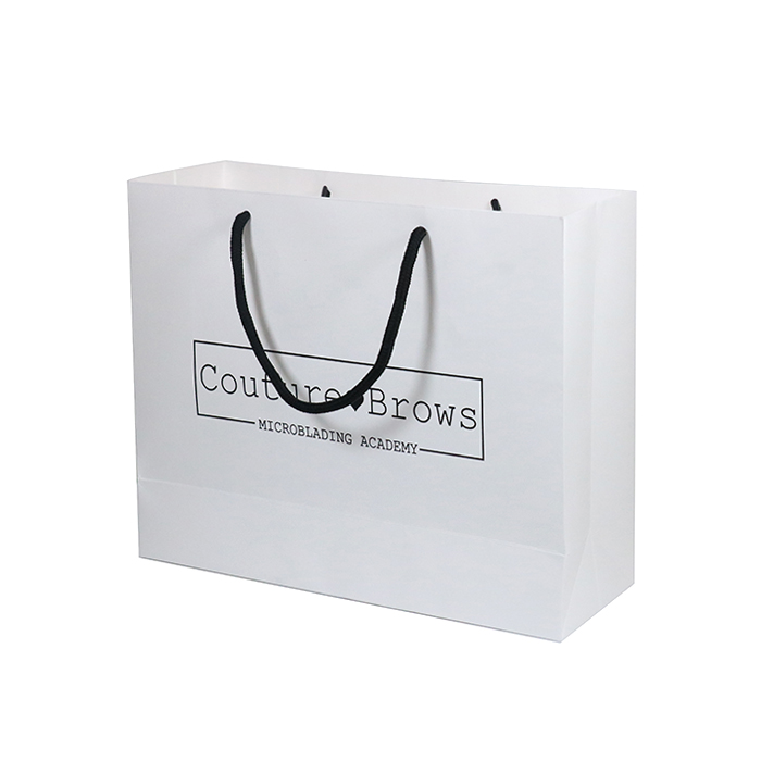 High Strong Hot Stamping Logo Horizontal Shopping White Kraft Paper Bag With Cotton Rope Handles