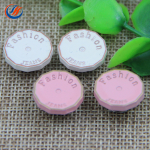 Factory Directly Custom Embossed Logo White Pink Color Shank Metal Jeans Buttons