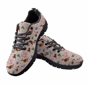 Tropical Plant Casual Zapatos Women Flats 3D Cute Cartoon Dog Design Youth Girl Fashion Lace Up Mesh Sneakers Shoes