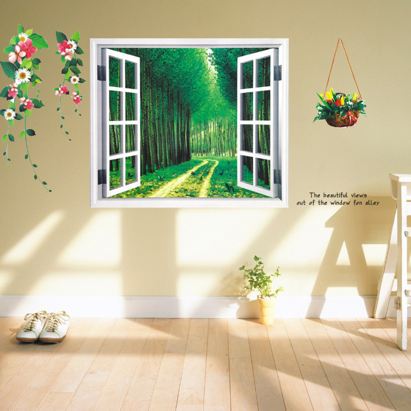 Wallpaper 3d home decoration diy window sticker fake landscape flower wall stickers decor