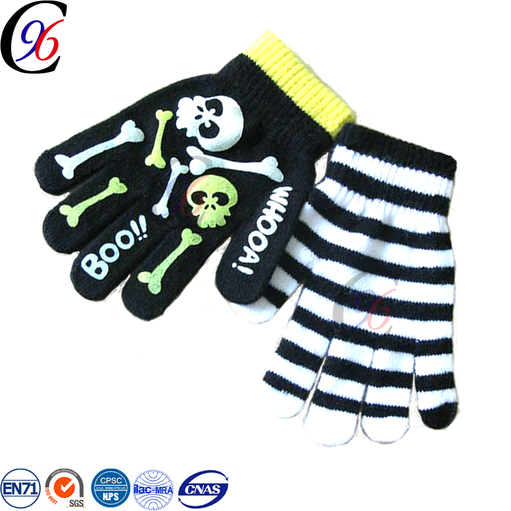 Chengxing high quality custom wholesale knitted printed pattern jacquard funny fashion protective gloves cheap knitted mittens