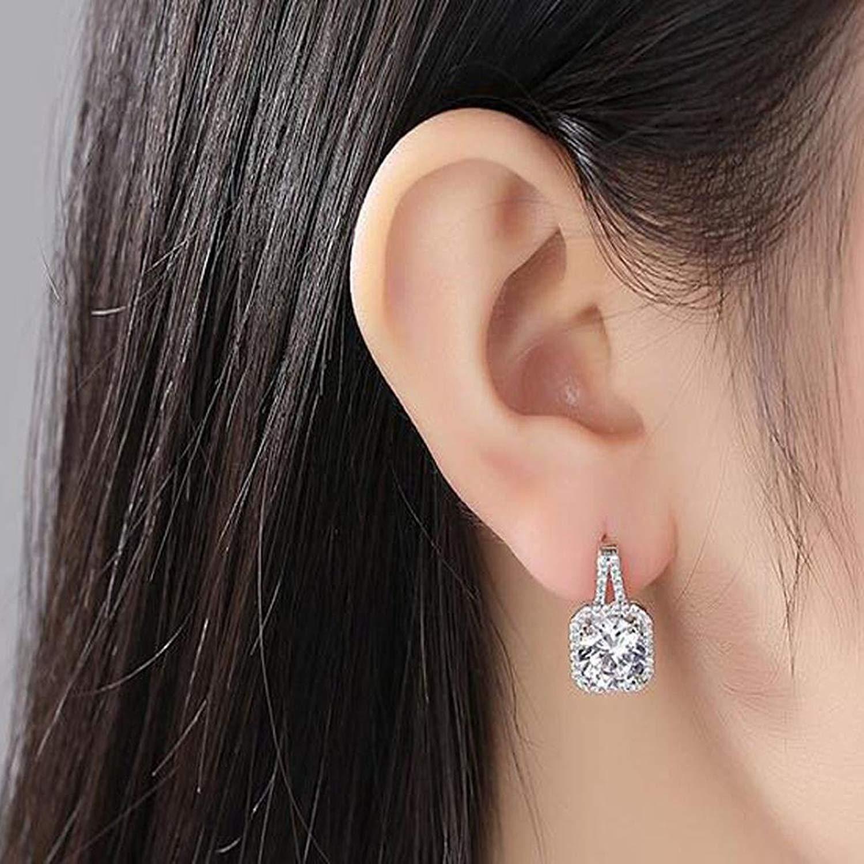 Gyoume Stud Earrings for Women Girl Lovers Zircon Ear Studs Alloy Earrings Jewelry Ornament