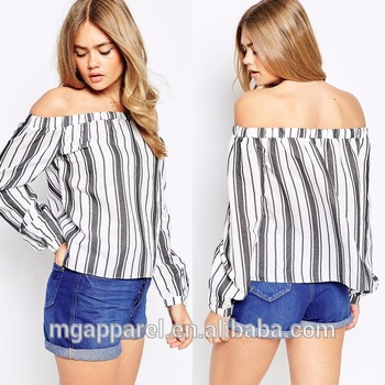 2015 Summer Tops Latest Girls Top Design Stripe Print Off Shoulder ...